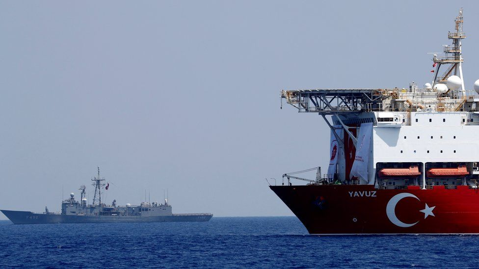 The Turkish drilling ship Yavuz is escorted by a Turkish naval vessel in the eastern Mediterranean off Cyprus