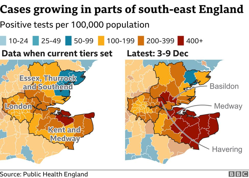 Cases in parts of south-east England