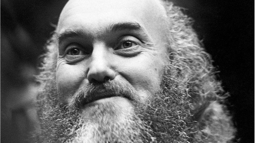 American spiritual teacher Baba Ram Dass (Richard Alpert) poses for a portrait at the First Unitarian Church in 1970 in San Francisco