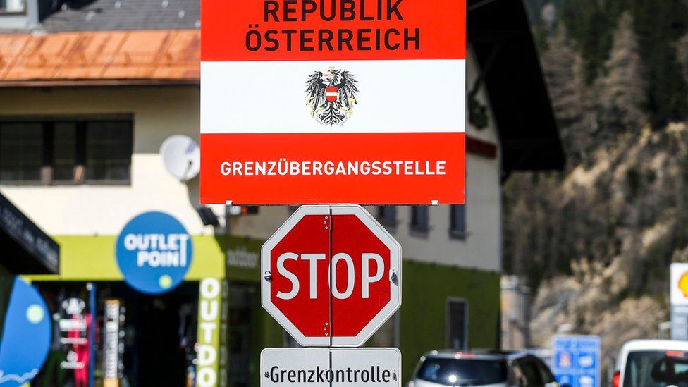 """A border sign reading """"Republic of Austria - border control"""" is seen in the Italian village of Brenner, Italy, at the Italian-Austrian border April 12, 2016."""