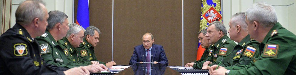 President Putin with military chiefs in Sochi, 10 Nov 15