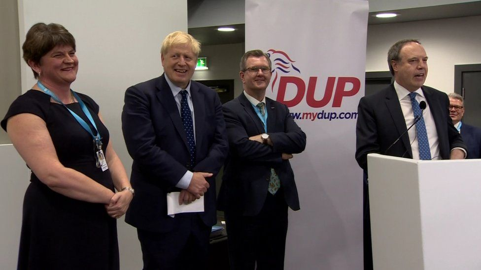 DUP members cheered Boris Johnson at the Conservative Party conference on 1 October