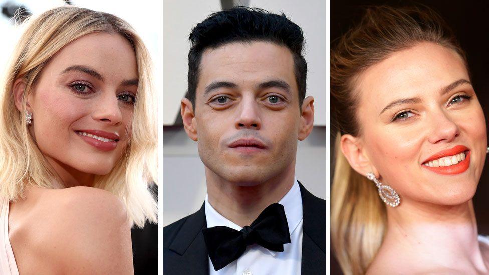 (Left to right) Margot Robbie, Rami Malek and Scarlett Johansson