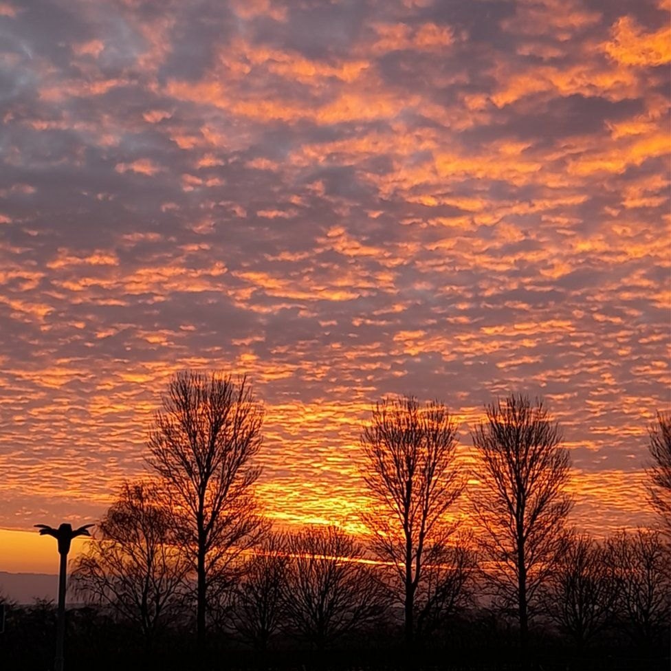 The sun rising over Wadworth Primary School in Doncaster