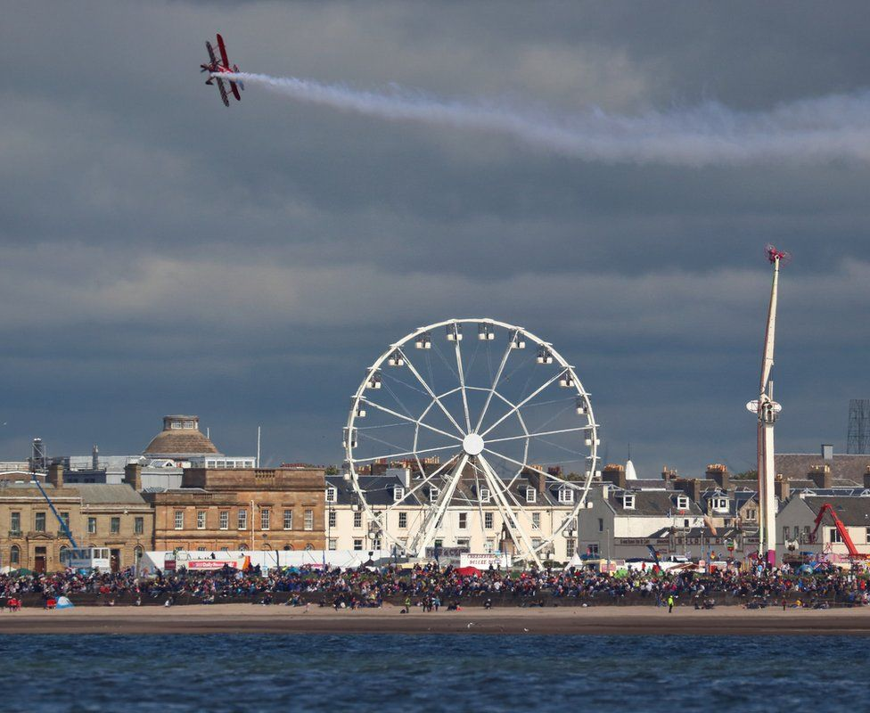 Biplane over Ayr seafront