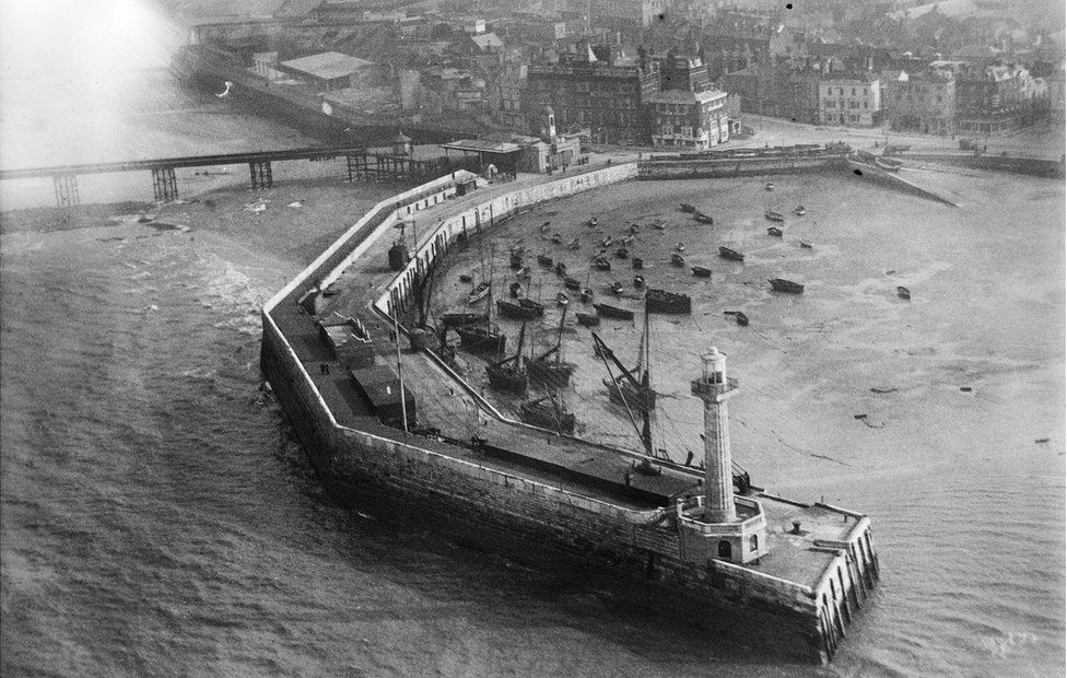 An aerial view of the harbour pier, Margate, Kent, taken in February 1920