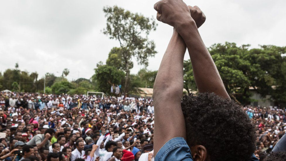 Protest against the Ethiopian government in Bishoftu on October 1, 2017