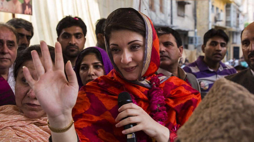 File photo: Maryam Nawaz Sharif, daughter of former Prime Minister Nawaz Sharif, of political party Pakistan Muslim League-N (PMLN), addresses supporters during an election campaign rally in Lahore, Pakistan on 4 May 2013