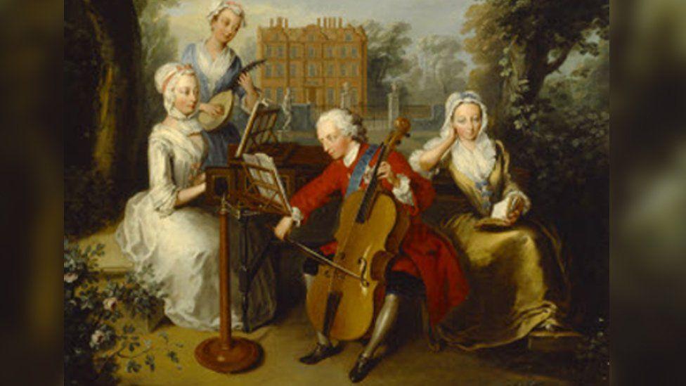 Frederick Lewis, Prince of Wales, Anne Princess Royal on left, Princess Caroline and Princess Amelia