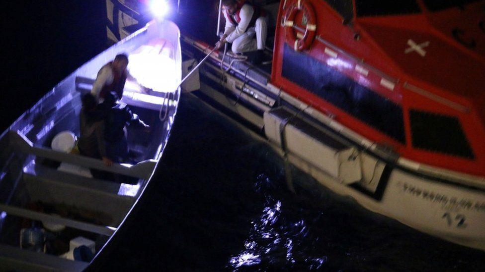 Cruise ship lifeboat rescues fishermen