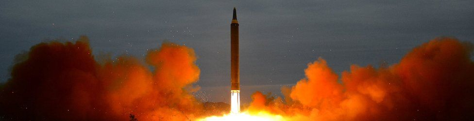 A missile is launched during a long and medium-range ballistic rocket launch drill in this undated photo released by North Korea's Korean Central News Agency (KCNA) in Pyongyang on August 30, 2017