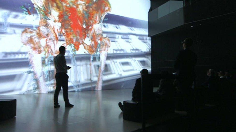 Deep Space technology inside the Ars Electronica at Linz, Austria