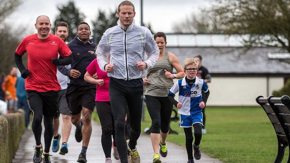 Runners at Little Stoke Park in Stoke Gifford on 16 April 2016