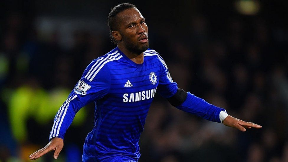 Didier Drogba plays for Chelsea in 2014
