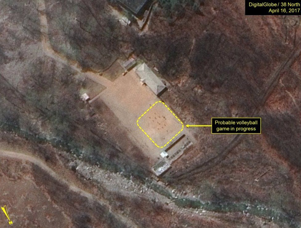 Satellite image appears to show volleyball game in progress at North Korea's nuclear site