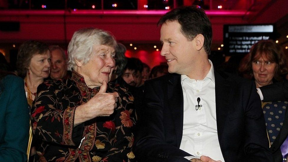 Baroness Williams with ex-Lib Dem leader Nick Clegg in 2013