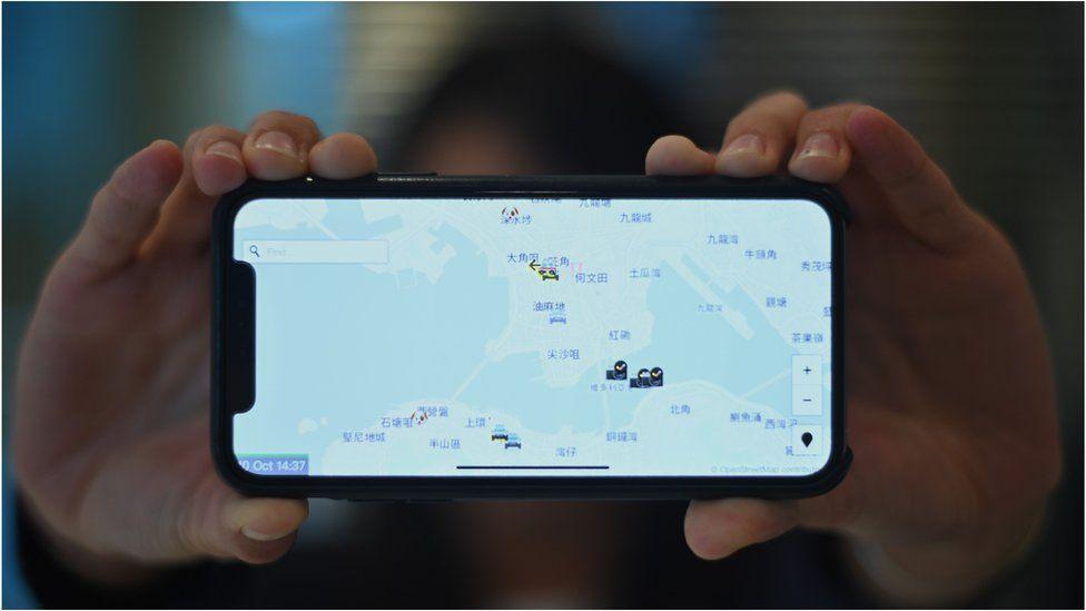 The HKmap.live app crowdsources information about law enforcement movements