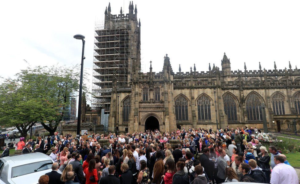 Hundreds of mourners outside the cathedral