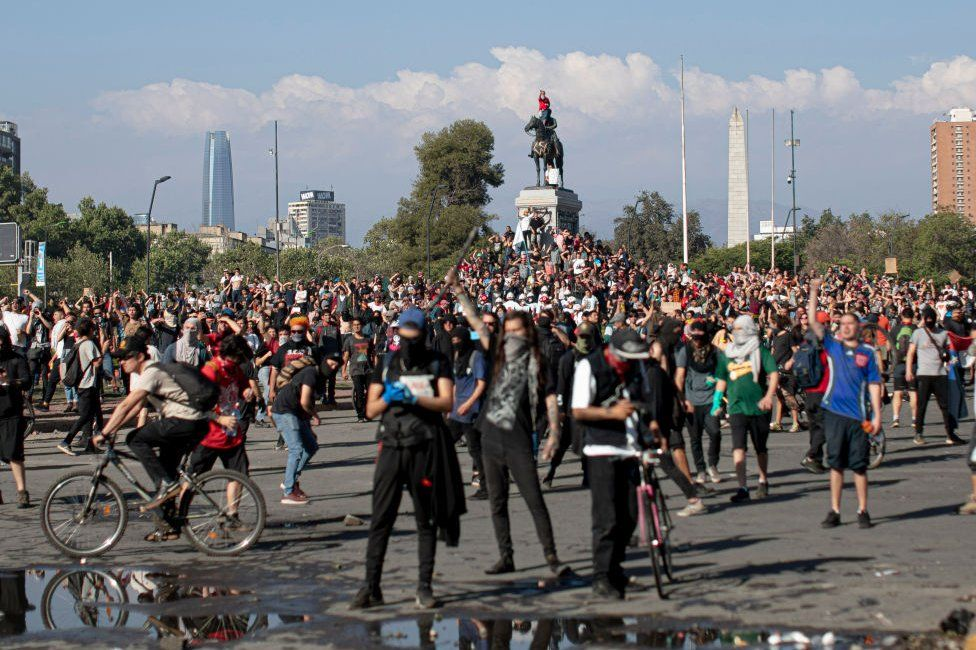 Protesters in Santiago, Chile