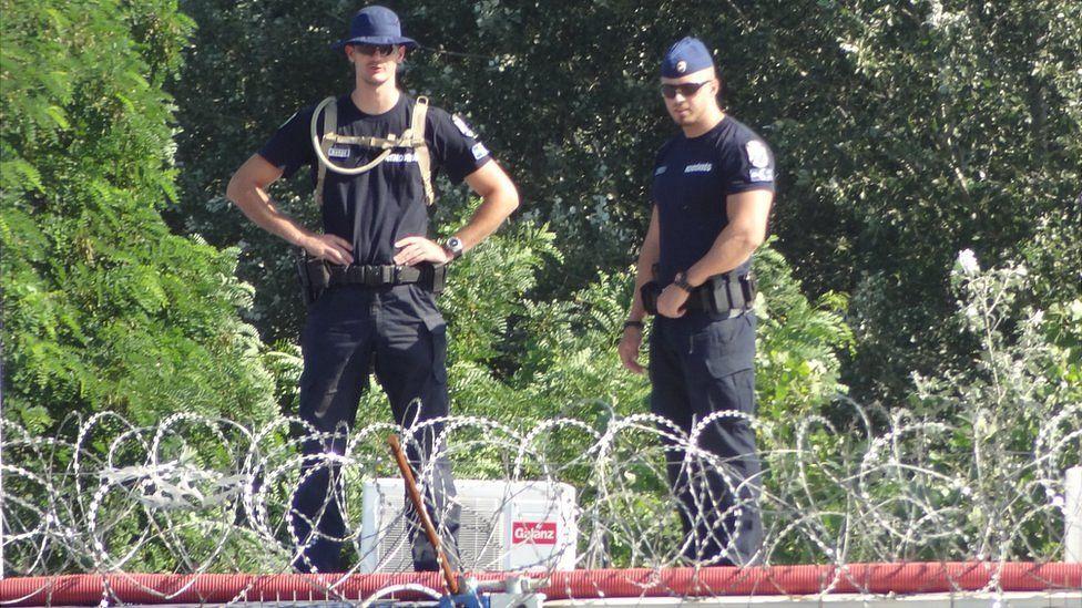 Hungarian police at Roszke, July 2016 (pic: N Thorpe)