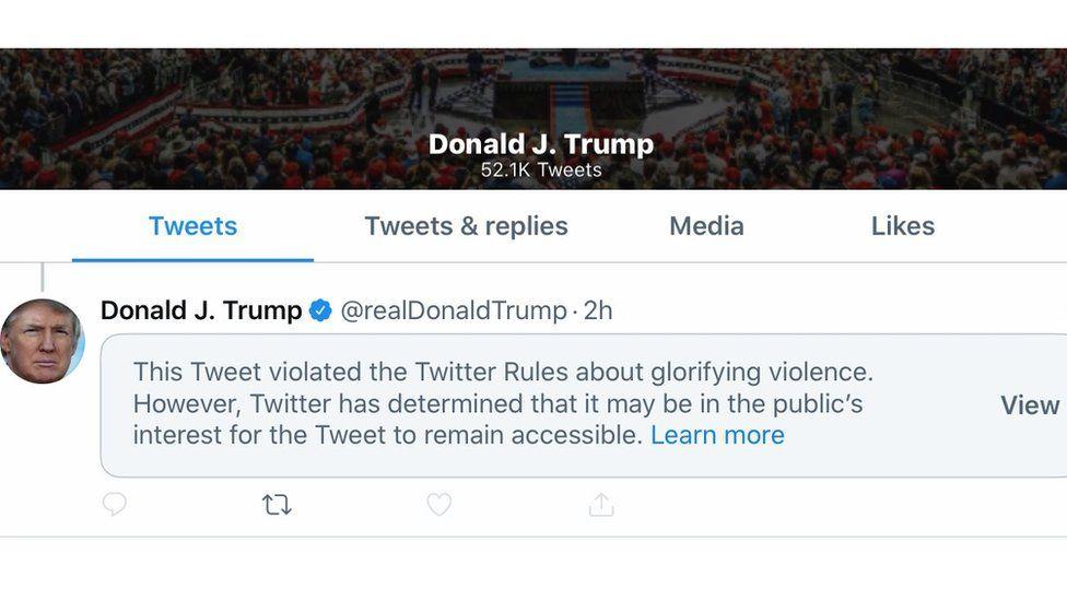 Twitter hides Trump tweet for 'glorifying violence' - BBC News