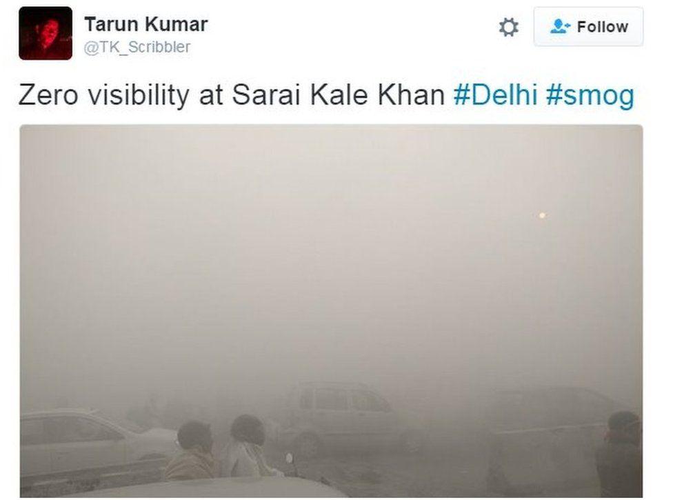 Zero visibility at Sarai Kale Khan #Delhi #smog