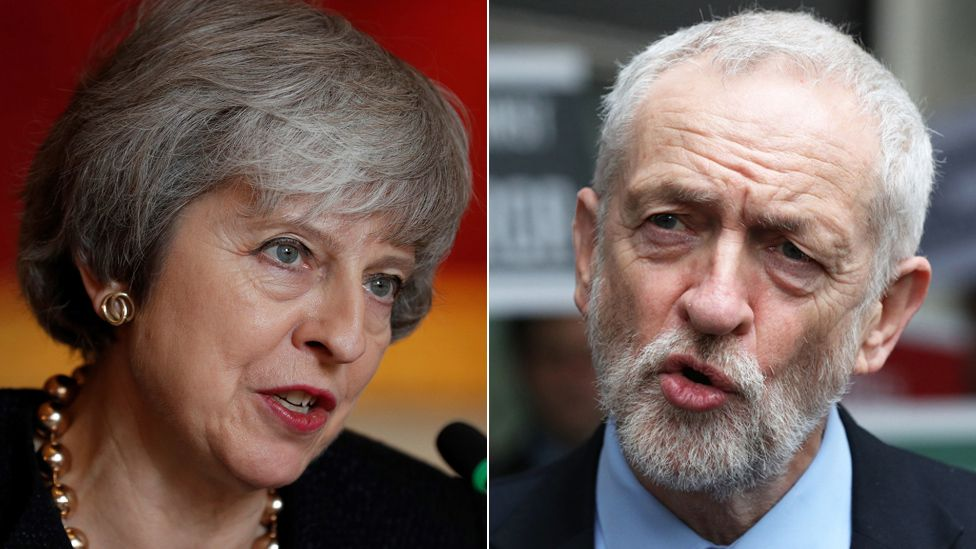 Composite image featuring Theresa May and Jeremy Corbyn