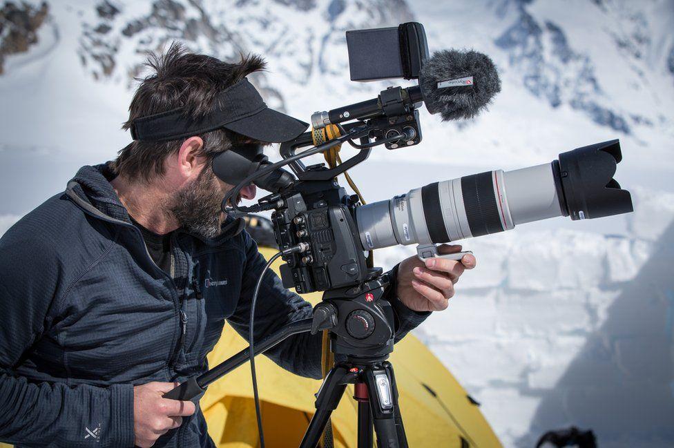 Film-maker Alastair Lee behind the camera