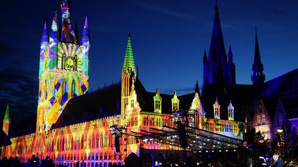 Cloth Hall in Ypres' Market Square was lit up during the event