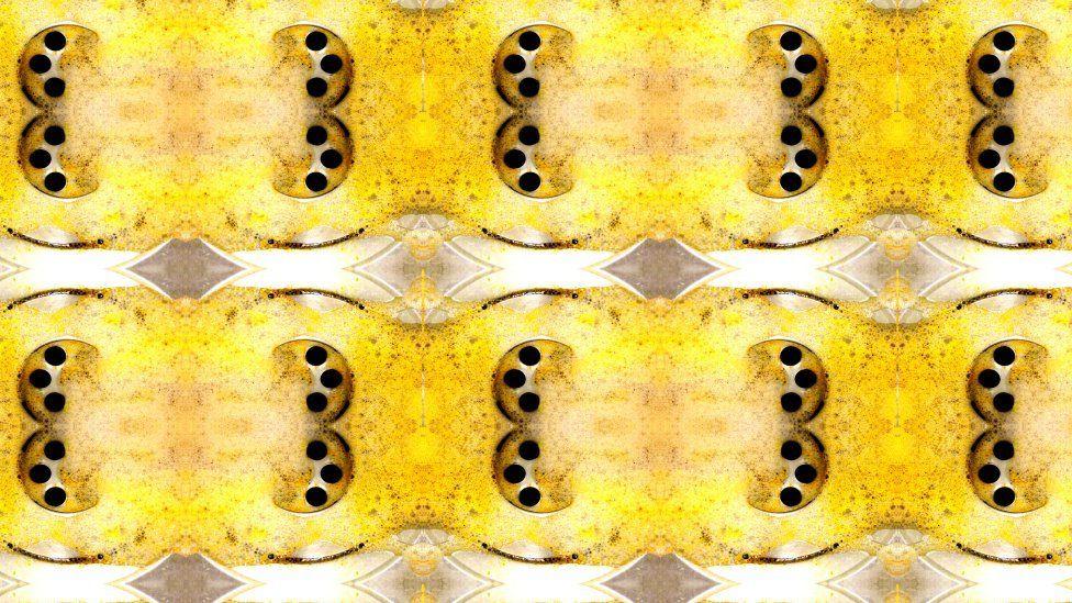 A wall paper print of a dirty plug hole