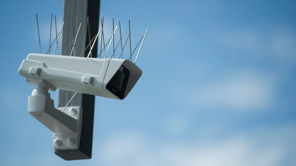 A surveillance camera which is part of facial recognition technology test is seen at Berlin Suedkreuz station on August 3, 2017 in Berlin, Germany