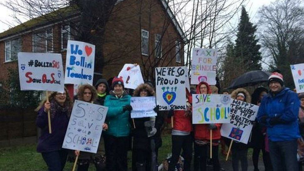 Parents demonstrated outside the school