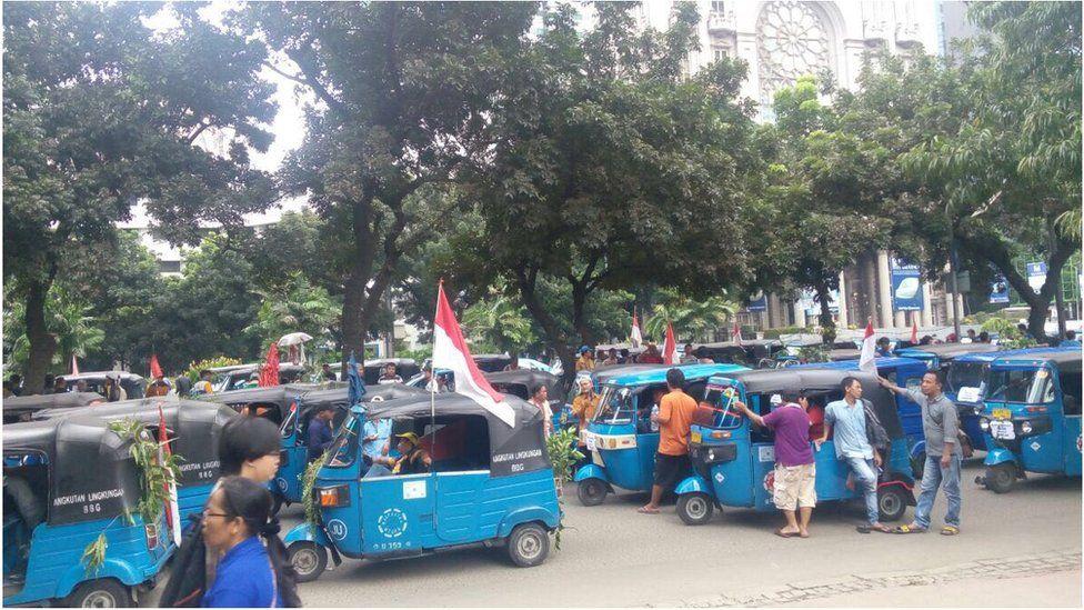 Motortaxi drivers in Jakarta