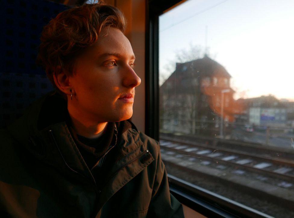 Ellie on the train