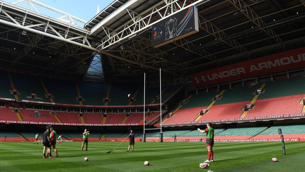 Wales players warm up on Friday ahead of the Six Nations match