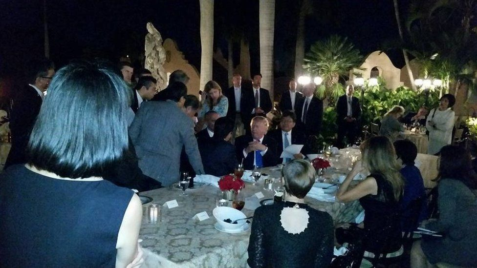 Trump and Abe dining outdoors at Mar a Lago