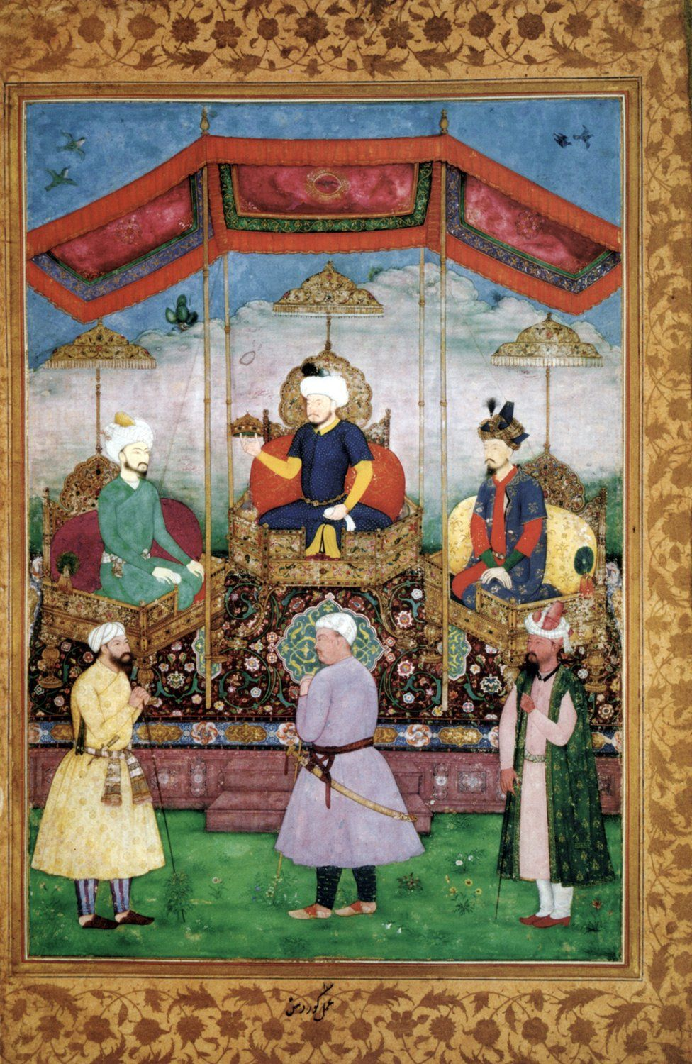 Timur handing the imperial crown to Babur in the presence of Humayun.