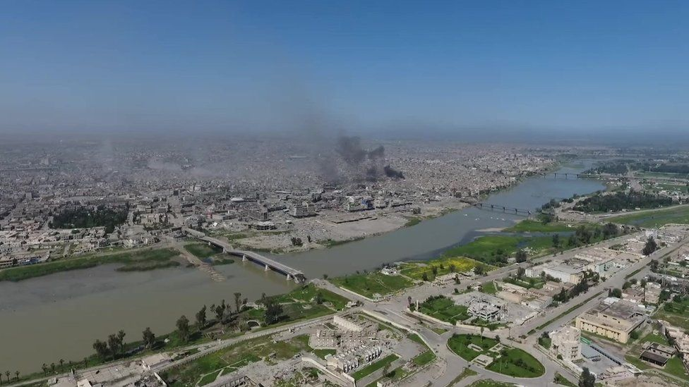A aerial view of Mosul