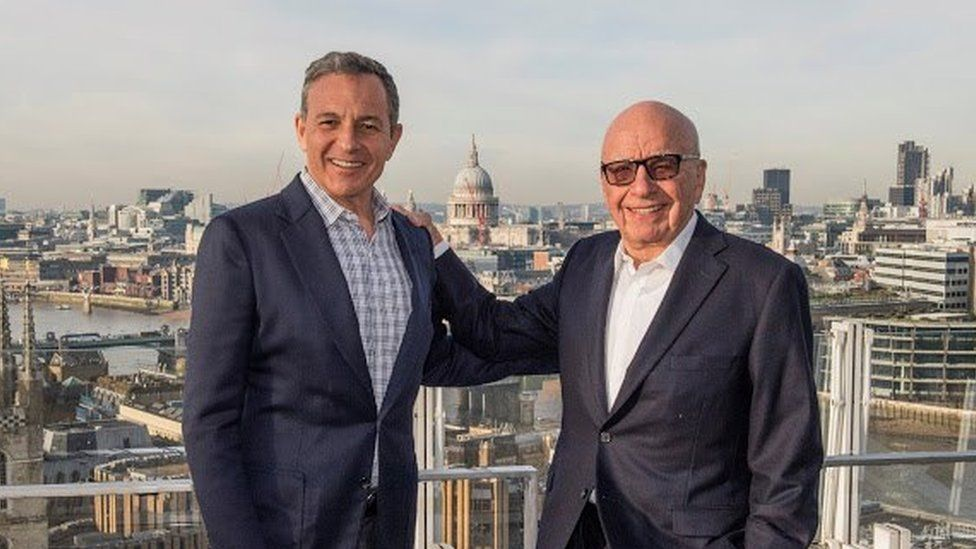Disney's Bob Iger and 21st Century Fox's Rupert Murdoch. If Murdoch is selling most of his $80bn company because he thinks it is too small to compete in entertainment, what is the future for other media organisations?