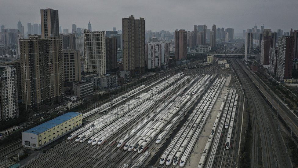 wuhan public transport has been stopped - trains at Hankou station