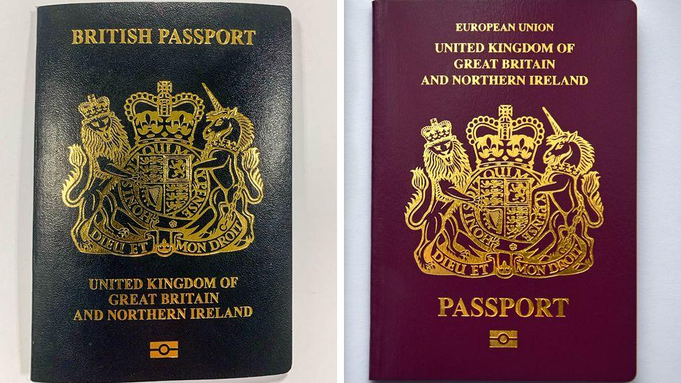 A new blue British passport alongside the current burgundy British passport