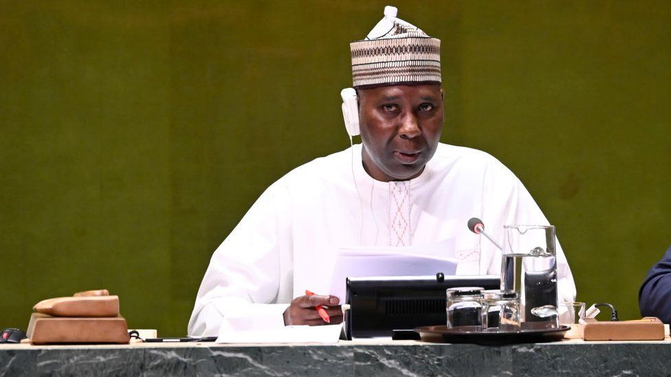 President of the General Assembly, Tijjani Muhammad-Bande speaks in 2019 at UN headquarters