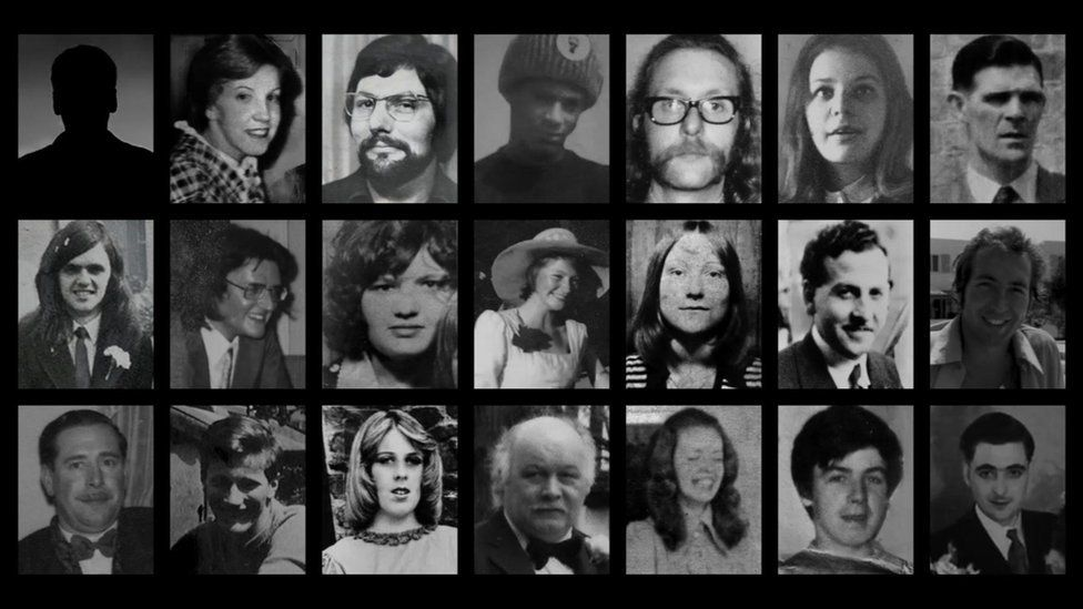 Victims (top row left to right) Neil Marsh (silhouette), Lynn (Lyn) Bennett, Trevor Thrupp, Paul Davies, Michael Beasley, Marilyn Nash and Charles Gray (second row, left to right) Desmond Reilly, Stephen Whalley, Pamela Palmer, Maxine Hambleton, Jane Davis, James Caddick and Thomas Chaytor (third row, left to right) John Clifford Jones, James Craig, Ann Hayes, Stanley Bodman, Maureen Roberts, Eugene Reilly and John Rowlands