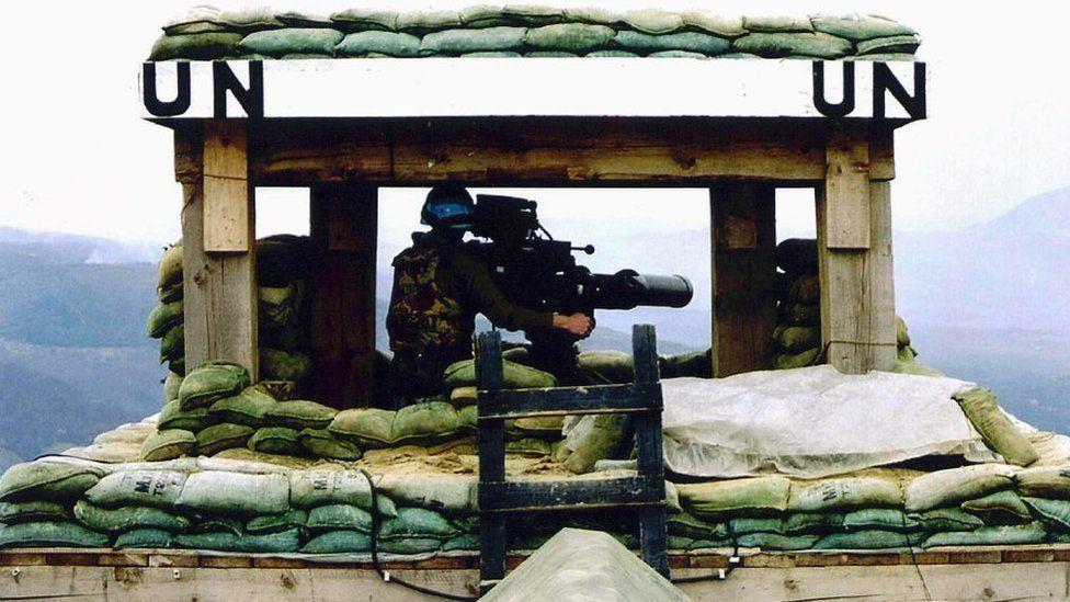 A UN outpost near Srebrenica