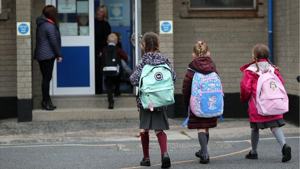 Pupils returning to school in Dundonald in September 2020