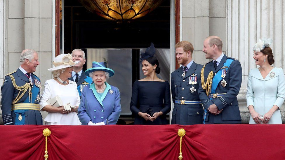 Members of the Royal Family at an event to mark the centenary of the RAF, 2018