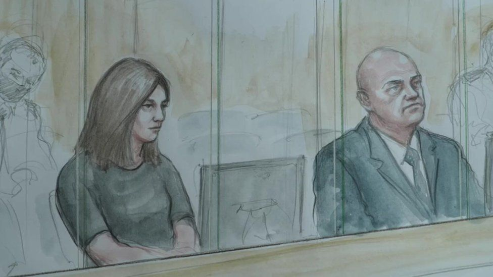 Court artist drawing of defendants PC Mary Ellen Bettley-Smith and PC Benjamin Monk