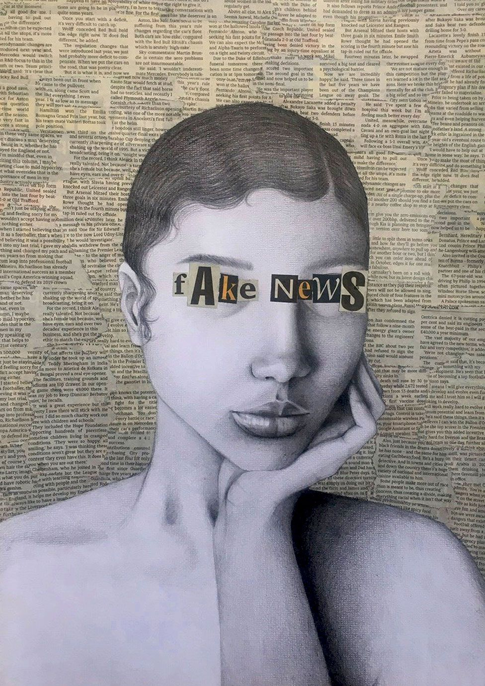 A piece of art showing a drawing of a woman with newspaper clippings around her