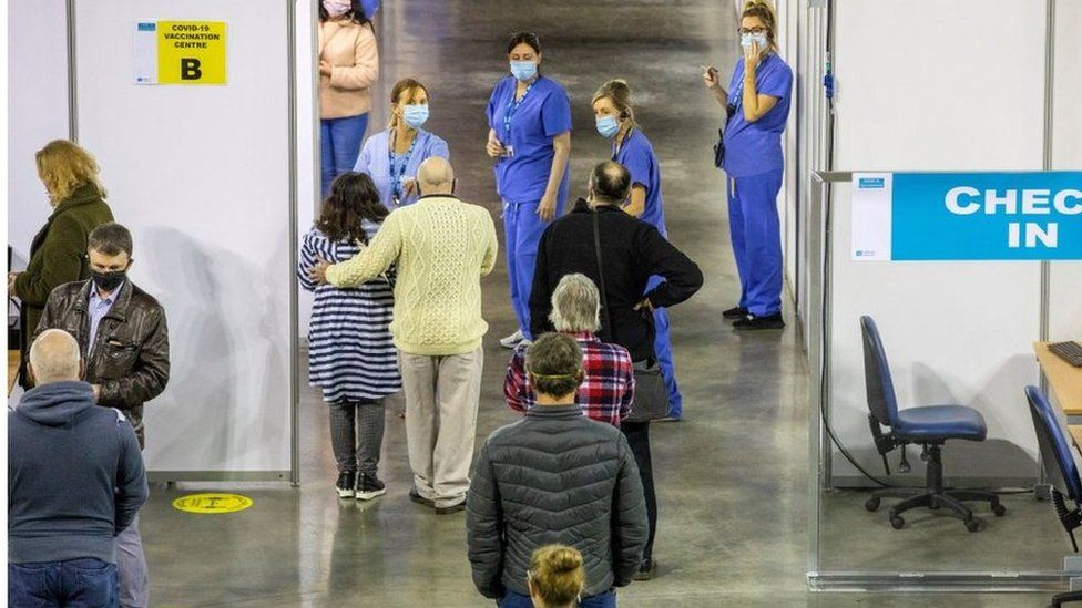 People getting vaccinations at the SSE Arena in Belfast