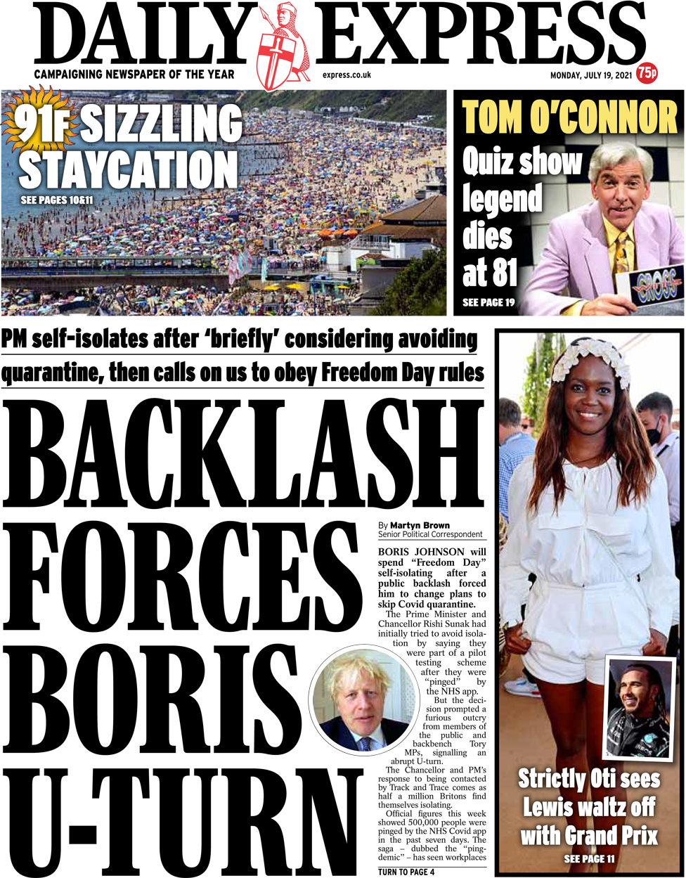 The Daily Express front page 19 July 2021